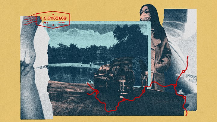 A collage of photos including a family visit to a lake, a woman wearing a face mask, and someone getting a vaccine shot. These are overlaid with a postage stamp and the red outline of a driving route.