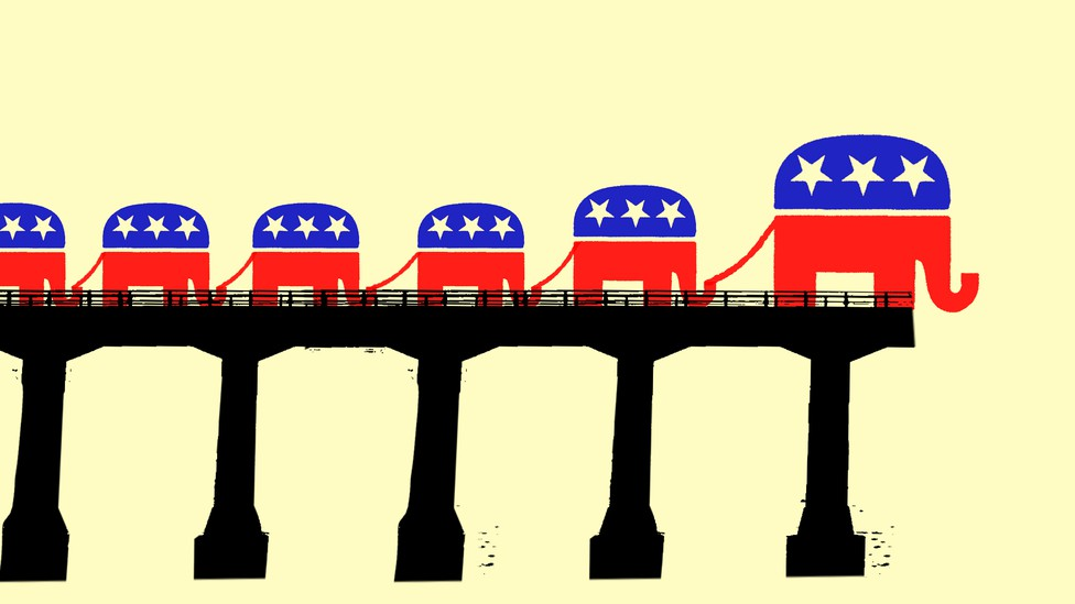 An illustration shows the GOP leading its voters off an incomplete bridge. The party and its constituents are represented by cartoon elephants.
