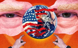 Illustration of Trump pointing at globe with fading American flag