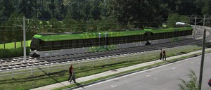 A rendering of Durham's proposed light rail