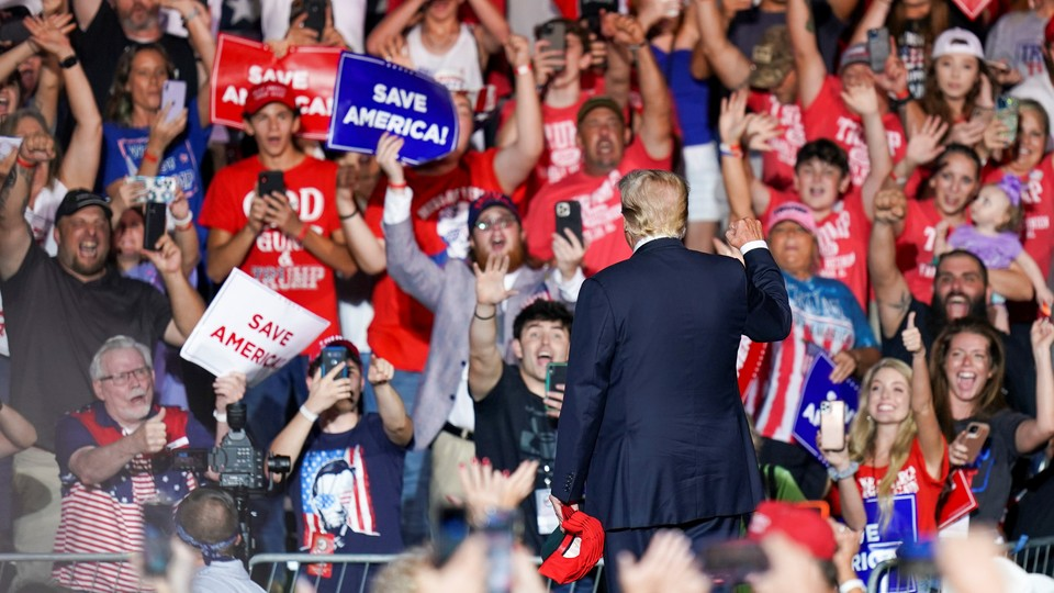 President Donald Trump at a rally in August 2021.