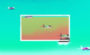 Abstract illustration of planes descending to land, on a bright aqua-and-orange background