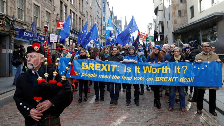 Demonstrators in Edinburgh protest against Brexit during a rally in March 2018.