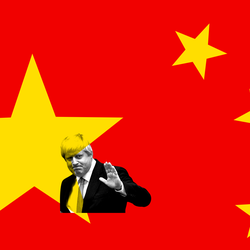 An image of Boris Johnson set against a red and blue background with yellow and white stars.