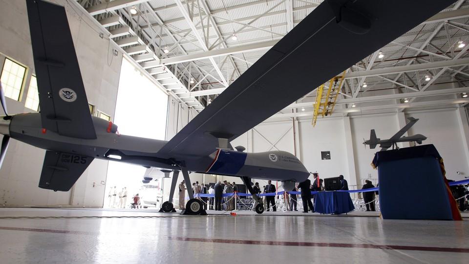 An MQ-9 Predator B drone in a hangar