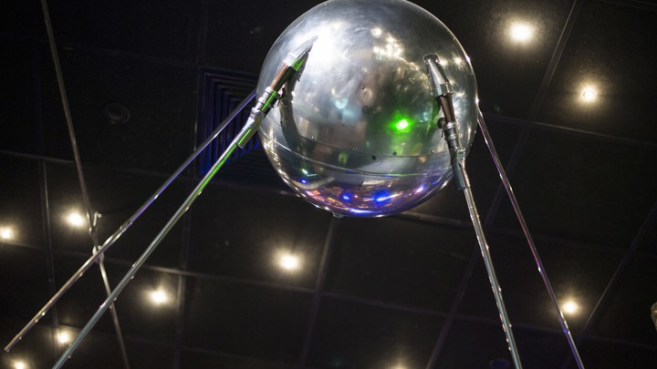 A life-size replica of Sputnik on display at the Museum of Cosmonautics in Moscow, Russia