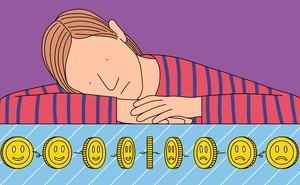 A person stares forlornly at a series of spinning coins, some of which have smiley faces, and some of which have frowny faces.