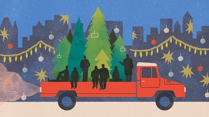 An illustration of friends on a the back of a pickup truck filled with Christmas trees.
