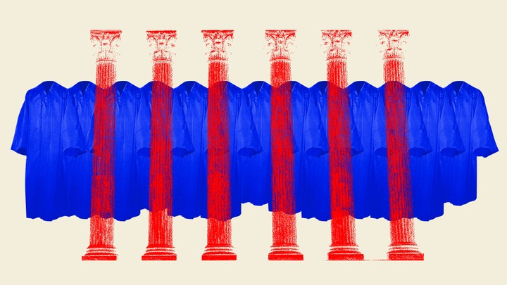 An illustration of judicial robes and columns.