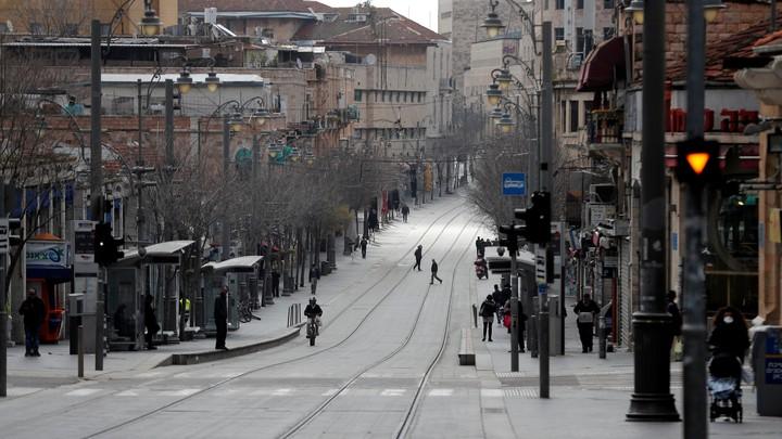 An empty street in Jerusalem, Israel