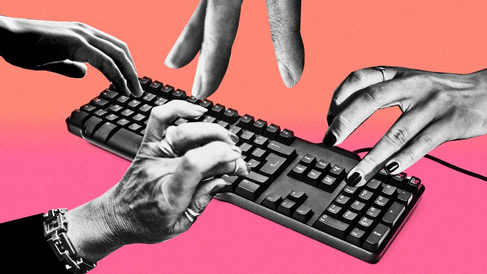 A photo collage of four different hands all typing on a keyboard at once