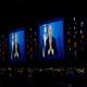 Speaking via satellite feed from Israel, Israeli Prime Minister Benjamin Netanyahu addresses AIPAC on March 26.