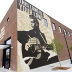 A mural of Woody Guthrie in Tulsa, Oklahoma.