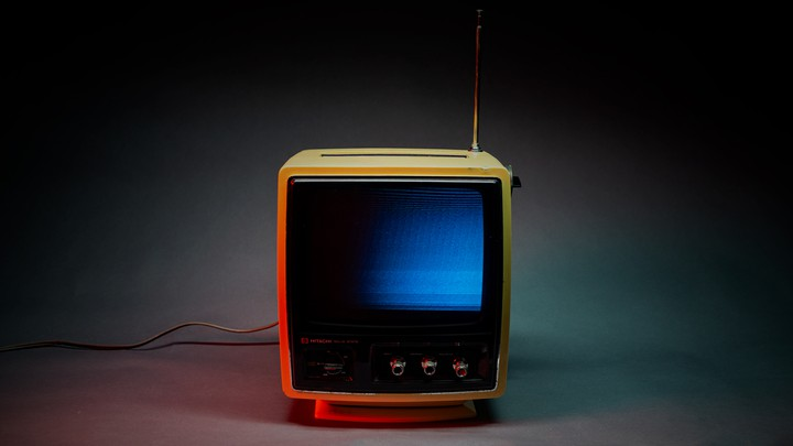 A photo illustration of an old TV
