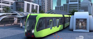 "A rendering of a self-driving ""trackless train"""