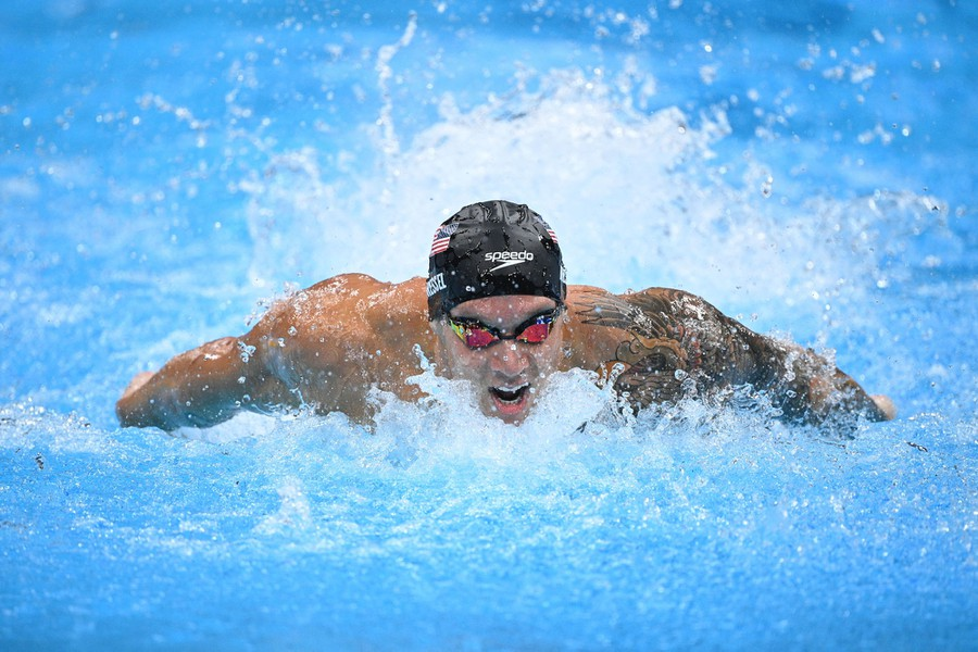 A swimmer powers through water toward the photographer.