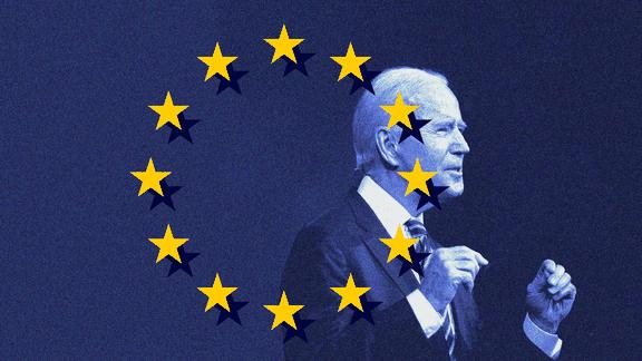 An image of Joe Biden set into the European Union flag
