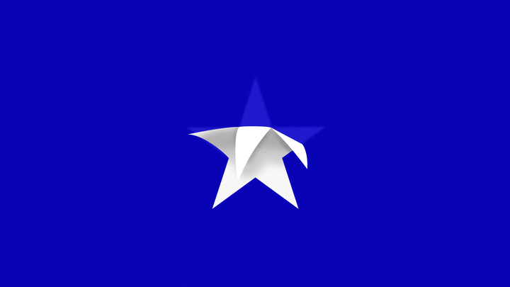 A white star peeling off a blue background.