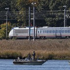 A photo of an Amtrak train in Old Saybrook, Connecticut.
