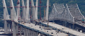 The new cable-stayed bridge being built to replace the Tappan Zee Bridge across the Hudson River connecting New York State's Westchester and Rockland counties.