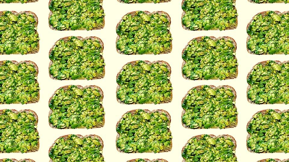 Columns of avocado toast