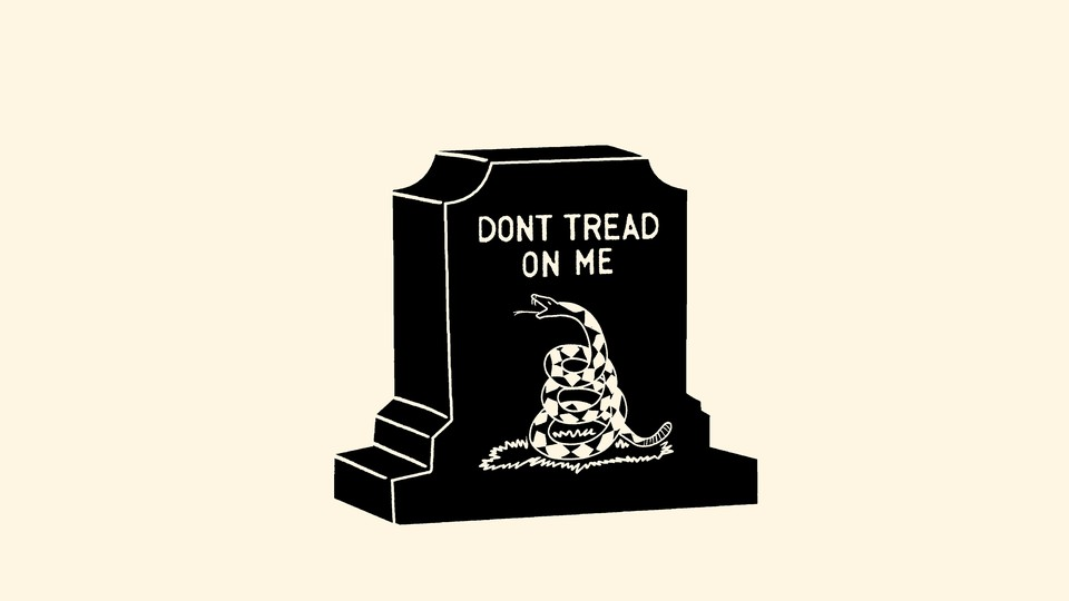 """Illustration of a gravestone with """"Don't tread on me"""" written on it"""