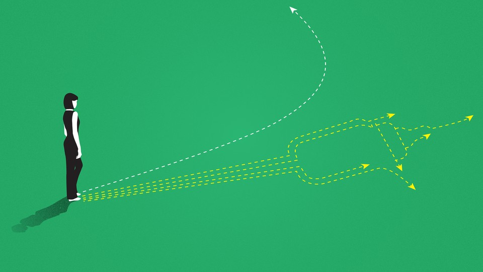 An illustration of a woman on a green background, with different dotted path lines before her