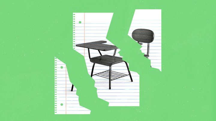 An illustration of a desk on a sheet of binder paper torn apart