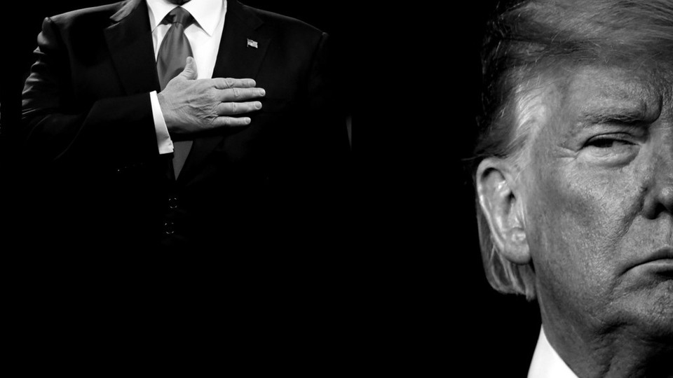 black-and-white graphic of Donald Trump with his hand over his heart, next to a close-up crop of his face