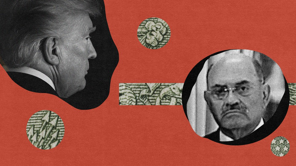 Artwork depicting money, Donald Trump, and Trump Organization CFO Allen Weisselberg