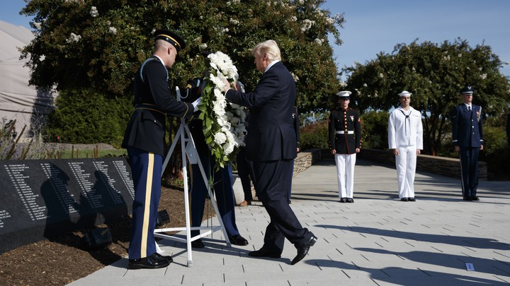 Donald Trump lays a wreath at the Pentagon at a 9/11 memorial service in 2017.