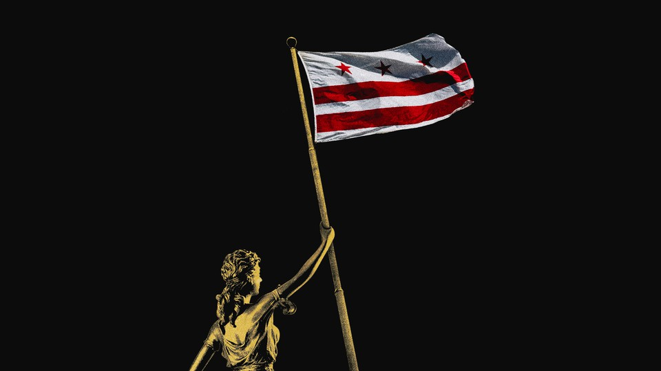 An illustration of a statue holding a DC flag.