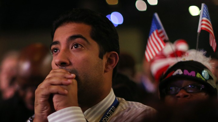 An anxious voter awaits presidential election results in 2012.