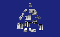 An image of the dome of the U.S. Capitol broken into pieces against a blue background
