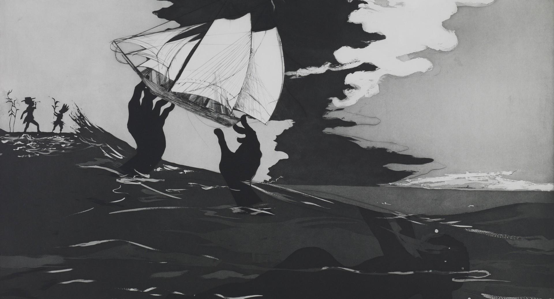 Kara Walker painting An Unpeopled Land in Uncharted Waters