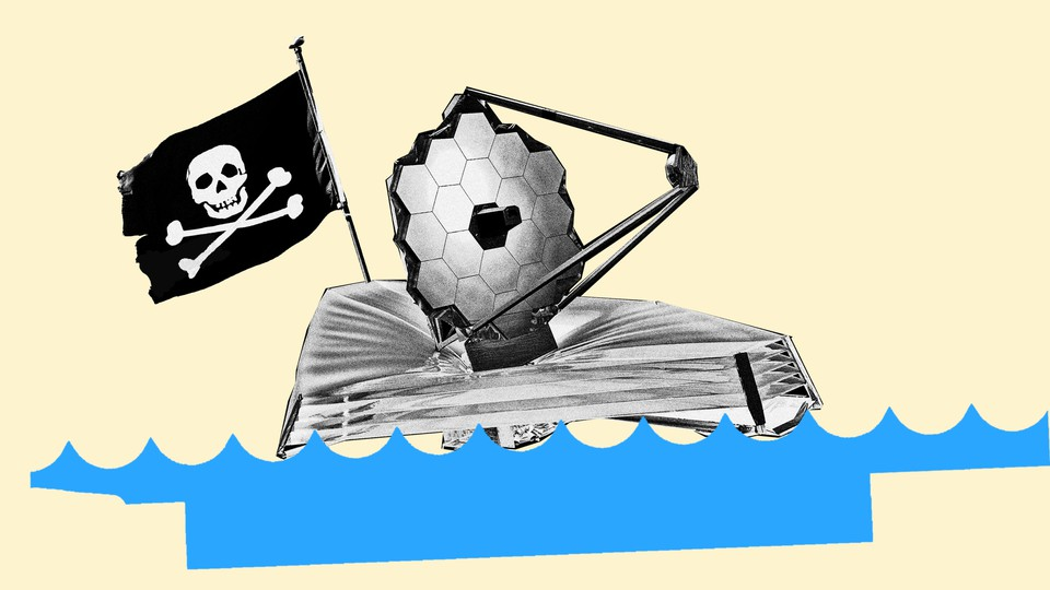 An illustration of NASA's new space telescope sailing on water, with a pirate flag waving overhead