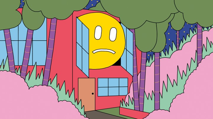 An illustration of a house. An unhappy face is looking out of one of the windows of the house.