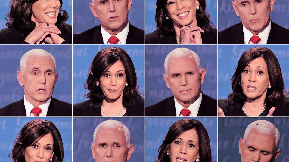 A series of Vice President Mike Pence's and Senator Kamala Harris's facial expressions during Wednesday night's debate