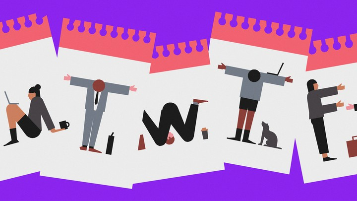 Cartoons of office workers whose bodies are shaped like the letters M, T, W, T, and F.