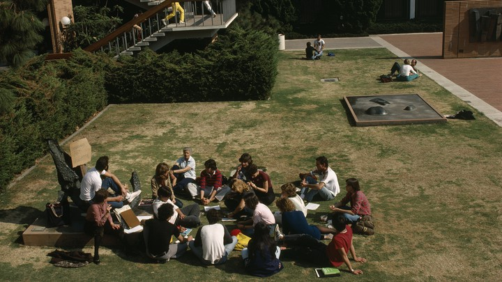 College students sitting on a grassy field.
