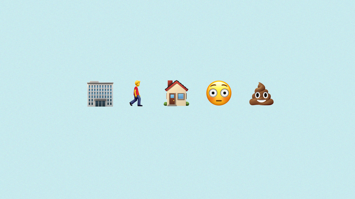 A series of emojis: Office, man walking, house, a flushed wide-eyed face, a smiling poop