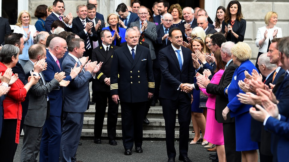 Leo Varadkar is congratulated by colleagues after being elected by parliamentary vote on June 14, 2017.