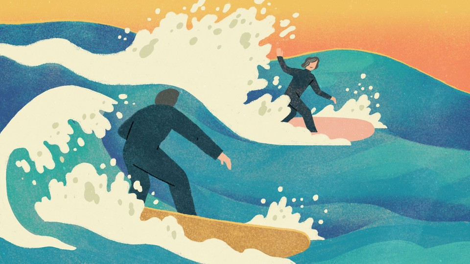 Illustration of a man and an older woman in wet suits surfing on waves. The man is in the foreground and faces the woman, who is waving to him.