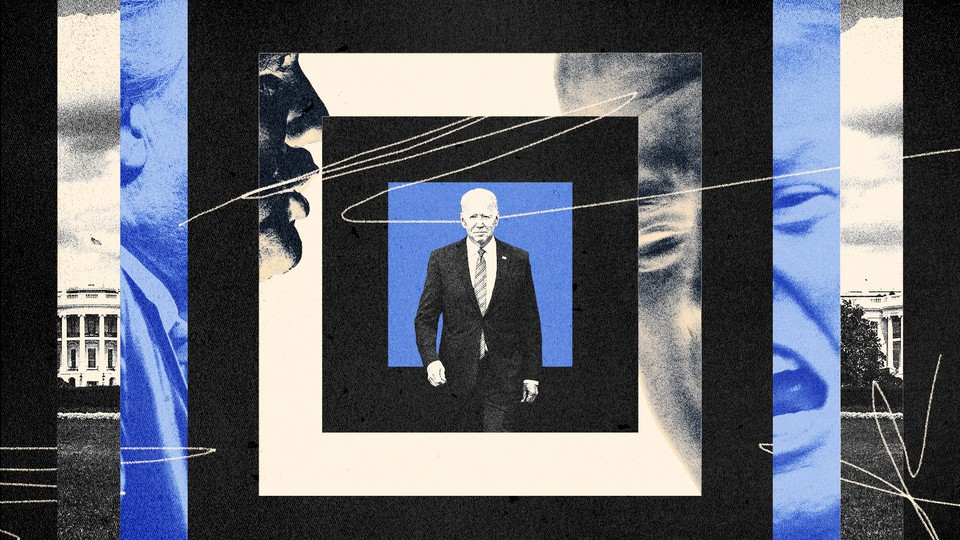 Joe Biden in a graphic of blue, white, and black concentric squares with Donald Trump's face looming