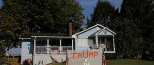 A sign supporting President Trump in front of a house in Crown City, Ohio