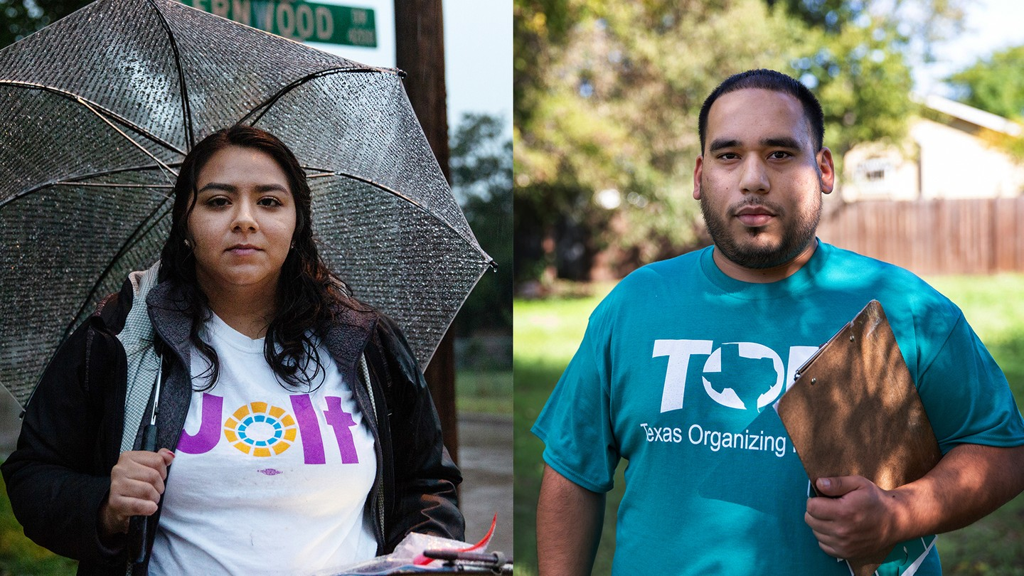 Organizers with the voter-mobilization groups Jolt and the Texas Organizing Project in Dallas