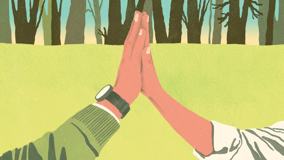 A close up illustration of a high five