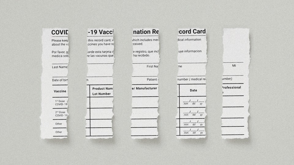 Illustration of torn vaccine cards.