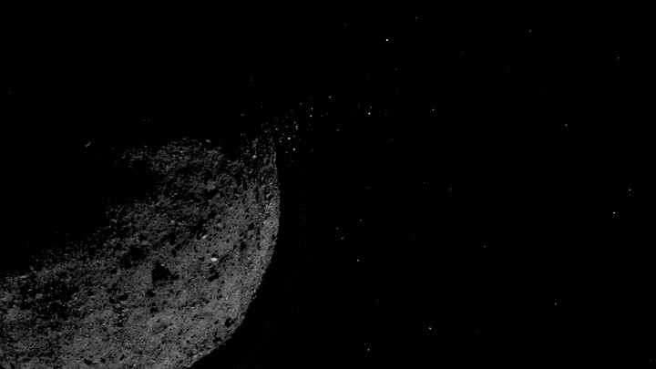 The asteroid Bennu spewing gravel-size particles into space