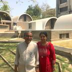 Balkrishna Doshi with his granddaughter Khushnu Panthaki Hoof at their studio in Ahmedabad
